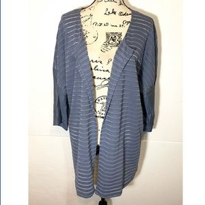 Ulla Popken Striped Open Cardigan Sheer